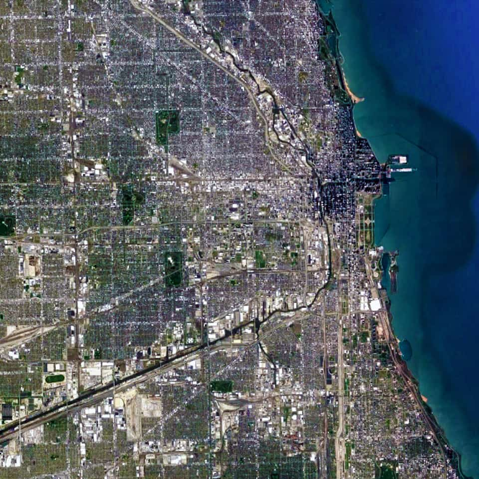 Satellite view, 25 km, Chicago, Illinois, USA, Google Earth