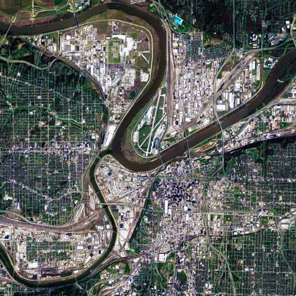 Satellite view, 15 km, Kansas City,Missouri-Kansas USA, Google Earth