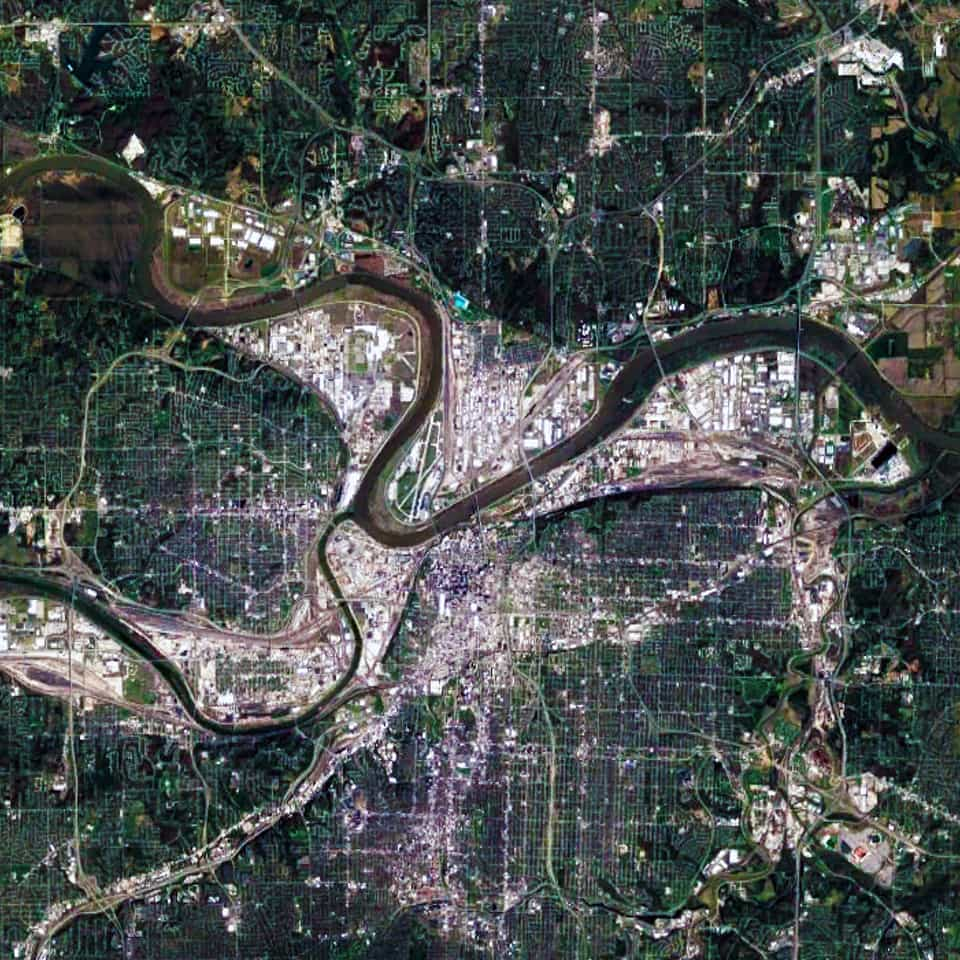 Satellite view, 30 km, Kansas City,Missouri-Kansas USA, Google Earth