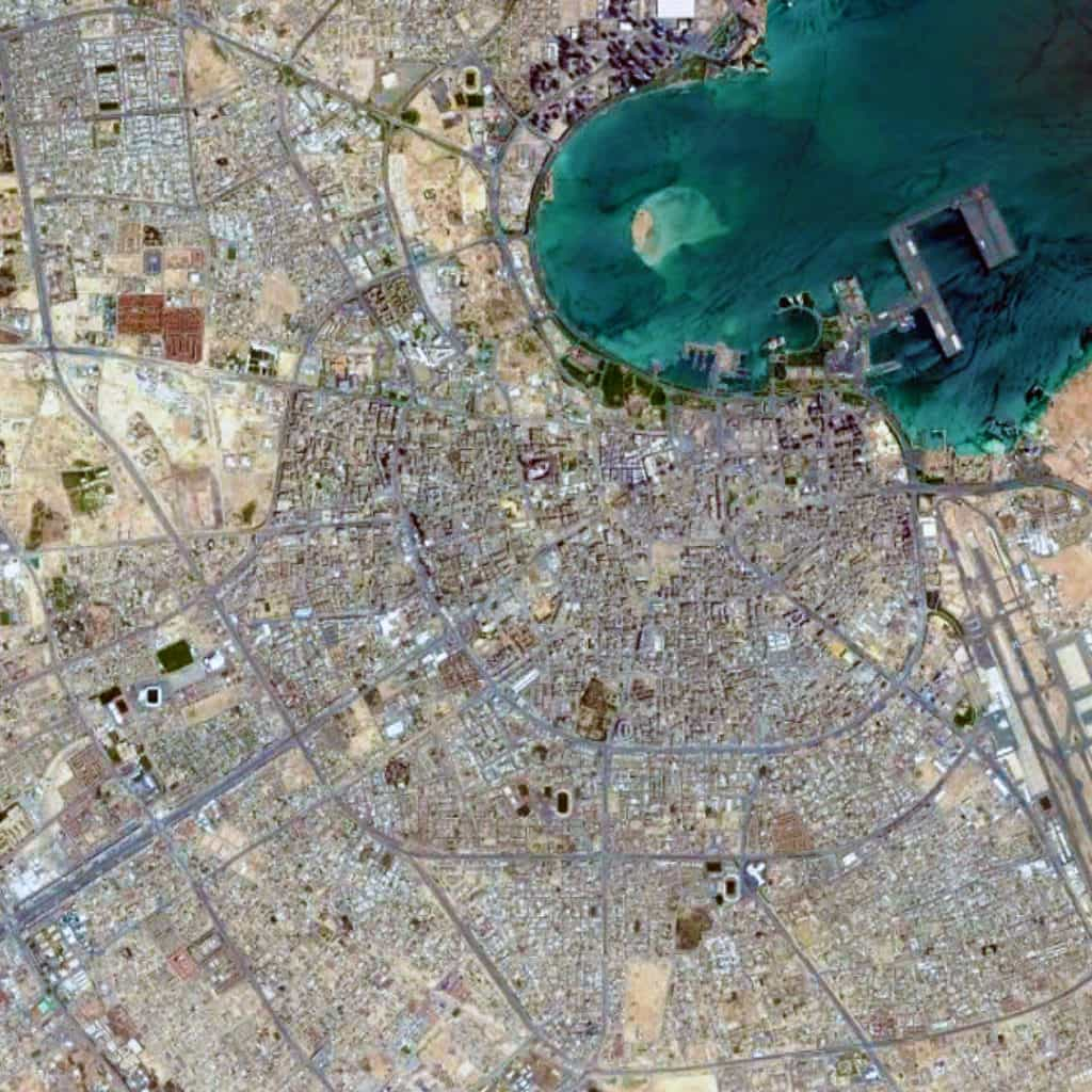 Satellite view, 15 km, Doha, Qatar, Google Earth